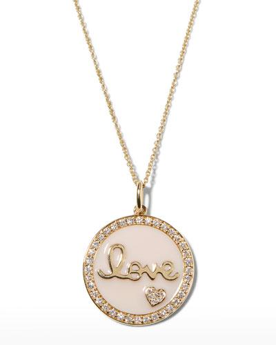 14k Gold Love Medallion Necklace w/ Enamel & Diamonds