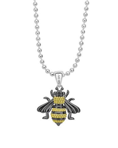 Rare Wonders Long Honeybee Pendant Necklace w/ 18k Gold