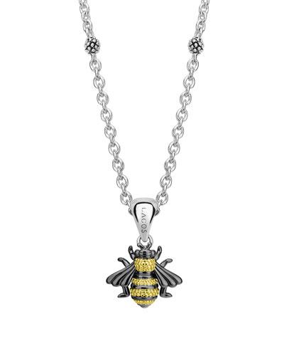 Rare Wonders Honeybee Pendant Necklace w/ 18k Gold