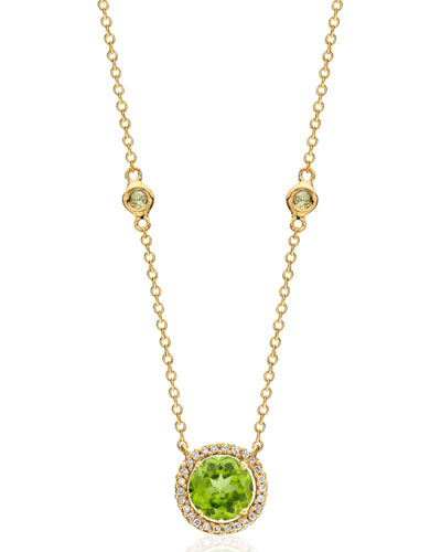 Grace 18k Gold Peridot & Diamond Pendant Necklace