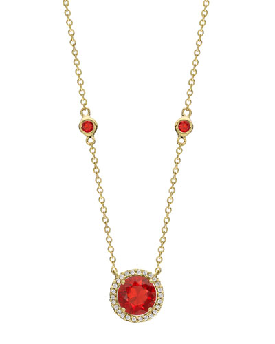 Grace 18k Gold Fire Opal & Diamond Pendant Necklace