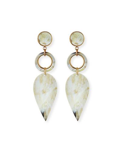 Horn Petal-Drop Earrings, White