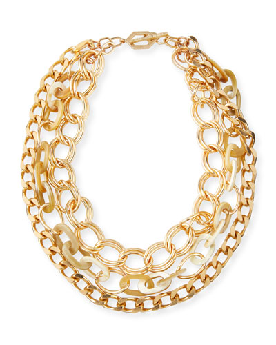 Chain & Horn 3-Strand Necklace, White