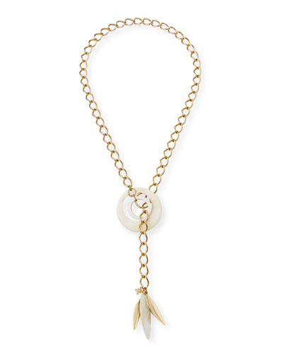 Adjustable Chain & Horn Lariat Necklace, White