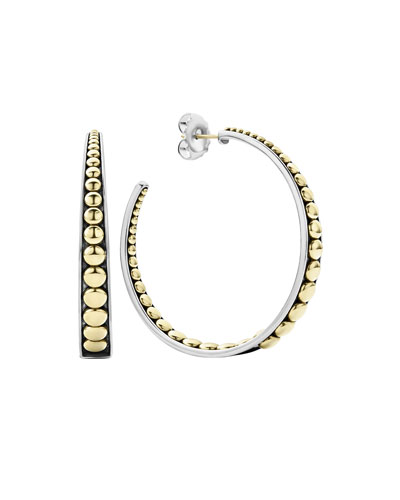 Signature Caviar Tapered Hoop Earrings w/ 18k Gold