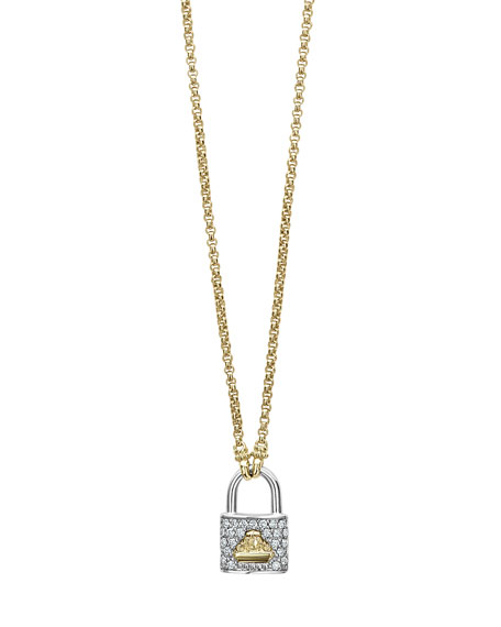 Lagos Beloved Diamond Lock Pendant Necklace