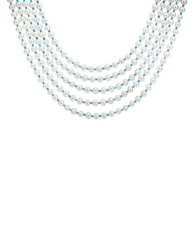 Caviar Icon 5-Strand  Pearl/Turquoise Necklace
