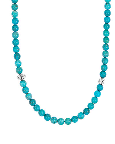 Caviar Icon Long Necklace, Turquoise