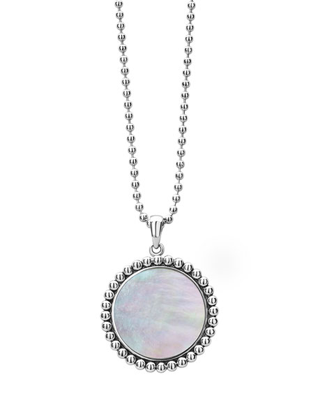 Lagos Maya 24mm Inlay Pendant Necklace, Mother-of-Pearl