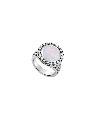 Maya Round Inlay Ring, Mother-of-Pearl