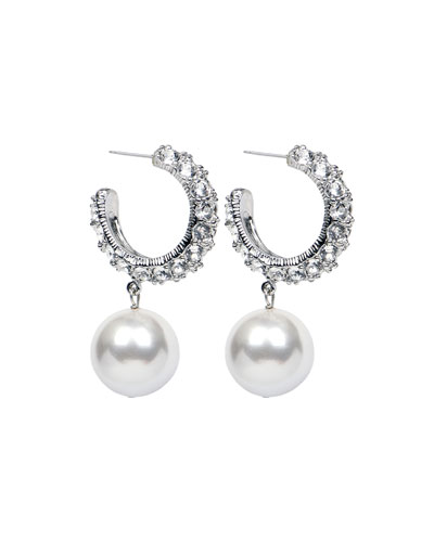 Bubble Pearl-Drop Hoop Earrings