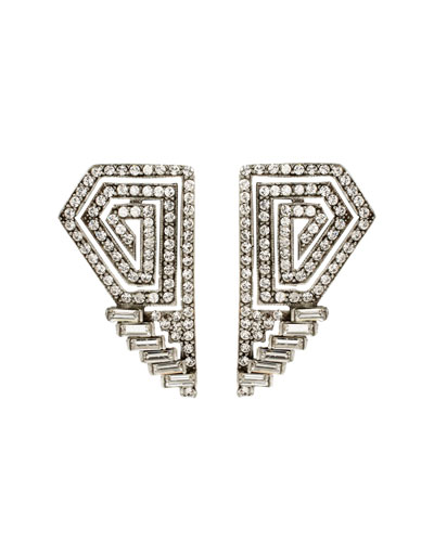 Crystal Deco Geometric Clip Earrings