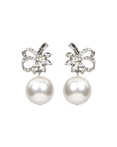 Bubble Pearl Ribbon Clip Earrings