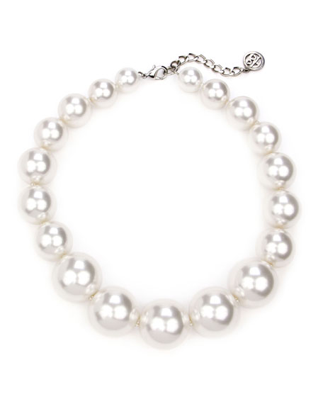Ben-Amun White Glass-Pearl All Around Necklace
