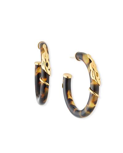 Cobra Acetate Hoop Earrings, Tortoise