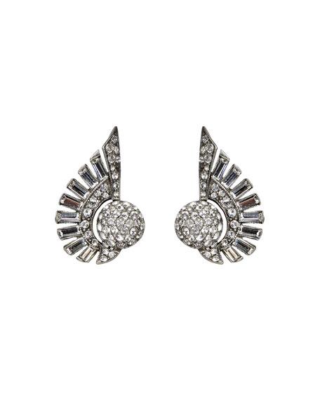 Ben-Amun Crystal Deco Clip-On Earrings