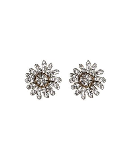 Ben-Amun Crystal Daisy Clip-On Earrings