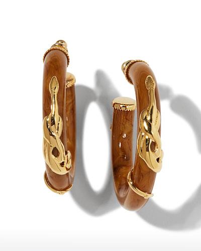 Cobra Acetate Hoop Earrings, Coral