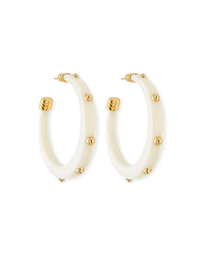 Caftan Studded Hoop Earrings, White