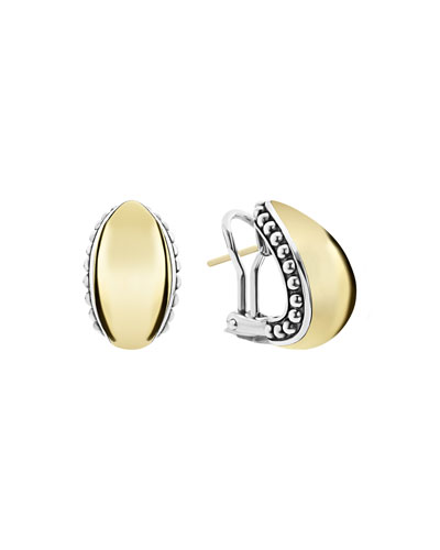 High Bar Domed Huggie Earrings w/ 18k Gold