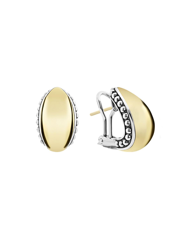 High Bar Domed Huggie Earrings w/ 18k Gold