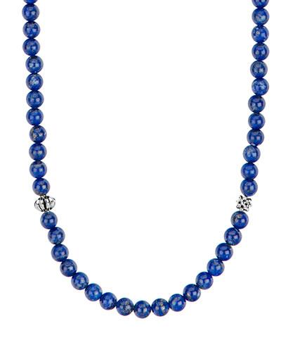 Caviar Icon Long Necklace, Lapis