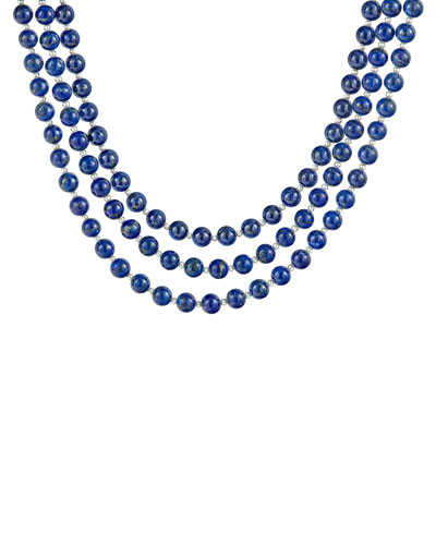 Caviar Icon 3-Strand Necklace, Lapis/Pearl