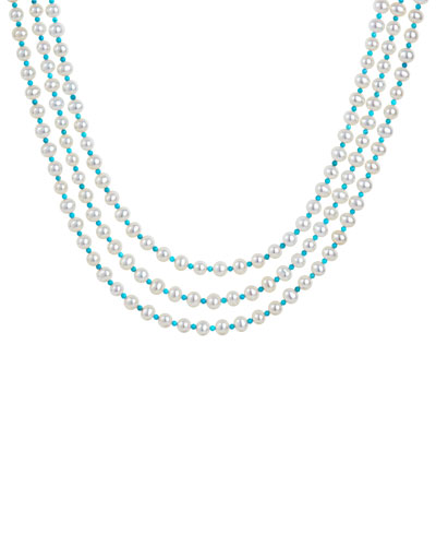 Caviar Icon 3-Strand Necklace, Pearl/Turquoise