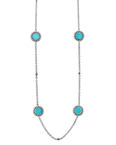 Maya 6-Station Inlay Necklace in Turquoise, 34