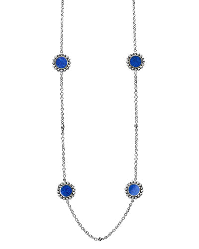 Maya 6-Station Inlay Necklace in Lapis, 34