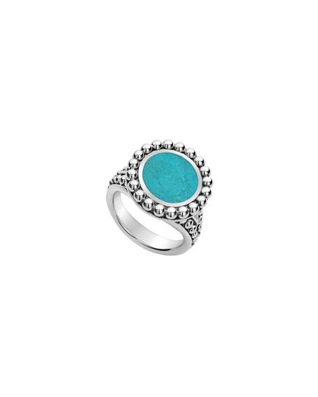 Lagos Maya 13mm Round Inlay Ring, Turquoise