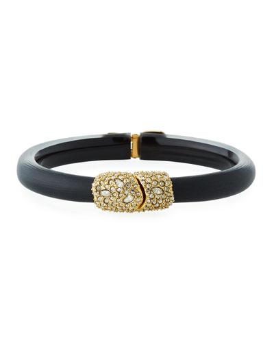 Crystal Encrusted Skinny Hinge-Clasp Bracelet, Black
