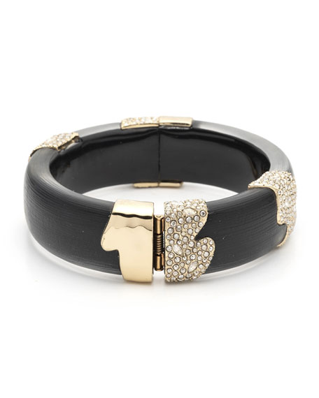 Alexis Bittar Crystal Encrusted Sectioned Hinge Bracelet