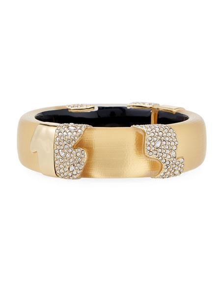 Alexis Bittar Crystal Encrusted Sectioned Hinge Bracelet, Gold