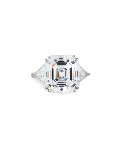 14k White Gold Asscher & Trillion Cubic Zirconia Ring