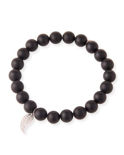 14k White Gold Diamond Wing & Onyx Bracelet
