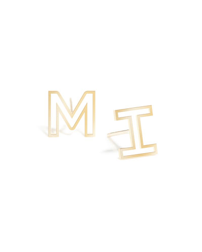 Personalized 14k Gold Chain Letter Stud Earrings