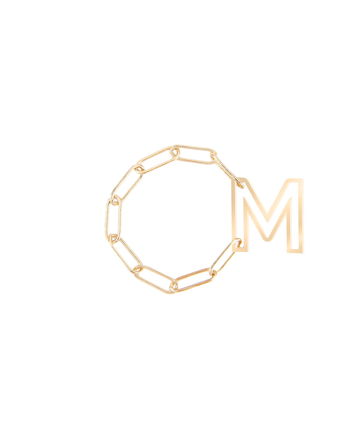 Personalized 14k Gold Chain Letter Fidget Ring