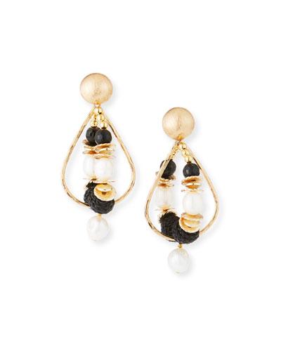 Double-Hoop Drop Earrings, Black/White