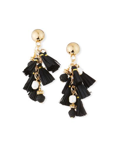 Pearl & Raffia Dangle Earrings, Black