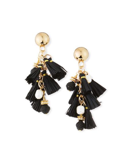 Akola Pearl & Raffia Dangle Earrings, Black