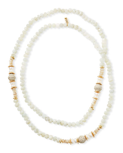 Long Moonstone & Leather Necklace, White
