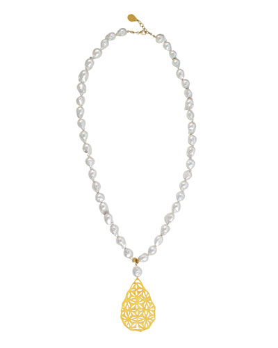 Pearl Filigree Pendant Necklace