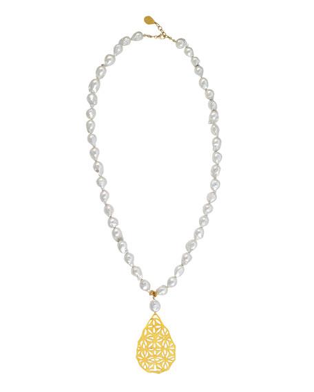 Devon Leigh Pearl Filigree Pendant Necklace