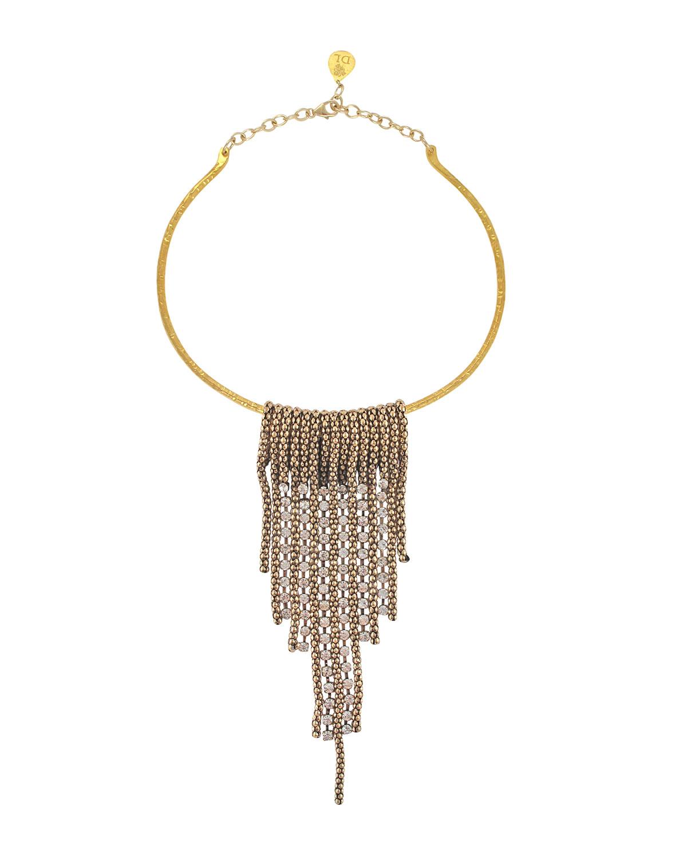 Mesh Crystal Bar Collar Necklace