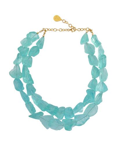 Double-Strand Raw Quartz Necklace, Blue