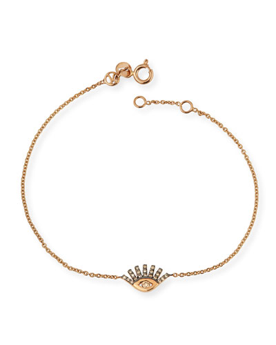 14k Rose Gold Diamond Evil Eye Bracelet