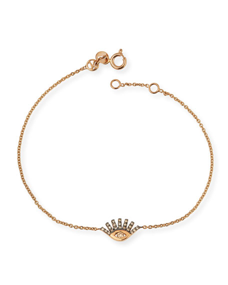 Kismet by Milka 14k Rose Gold Diamond Evil Eye Bracelet