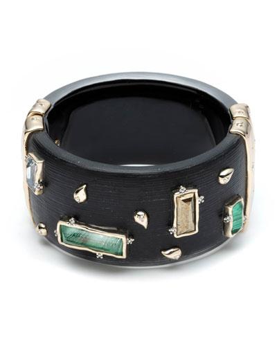 Stone and Paisley Studded Wide Retro Hinge Bracelet, Black