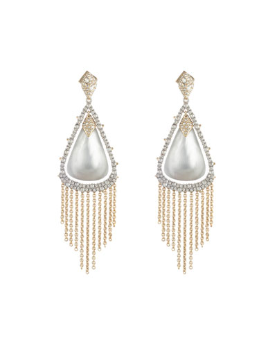 Crystal Capped Tassel Chain Earrings